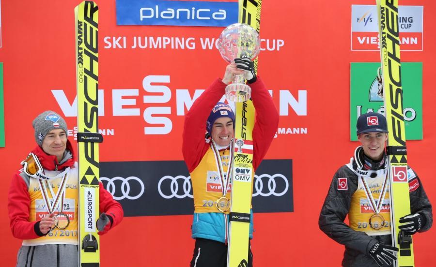 Od lewej: Polak Kamil Stoch - 2. miejsce, Austriak Stefan Kraft - 1. miejsce i Norweg Daniel Andre Tande - 3. miejsce, na podium klasyfikacji generalnej Puchar Świata