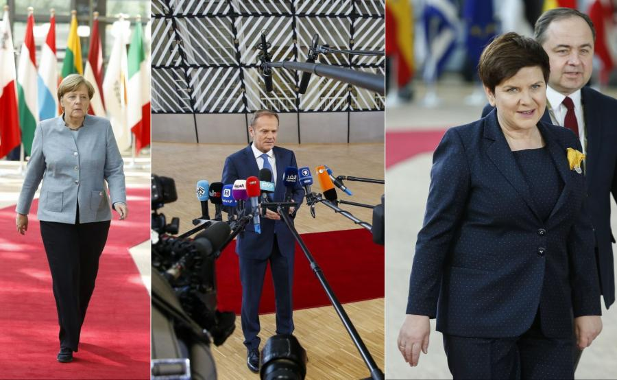 Angela Merkel, Donald Tusk, Beata Szydło w Brukseli