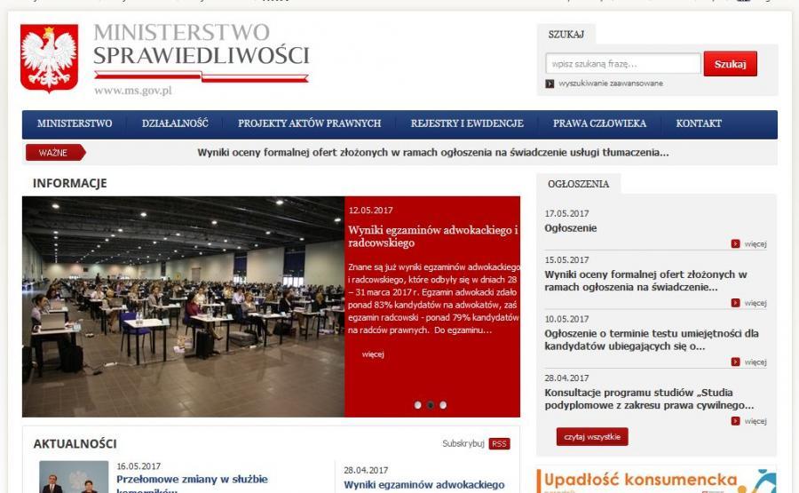 Strona internetowa Ministerstwa Sprawiedliwości