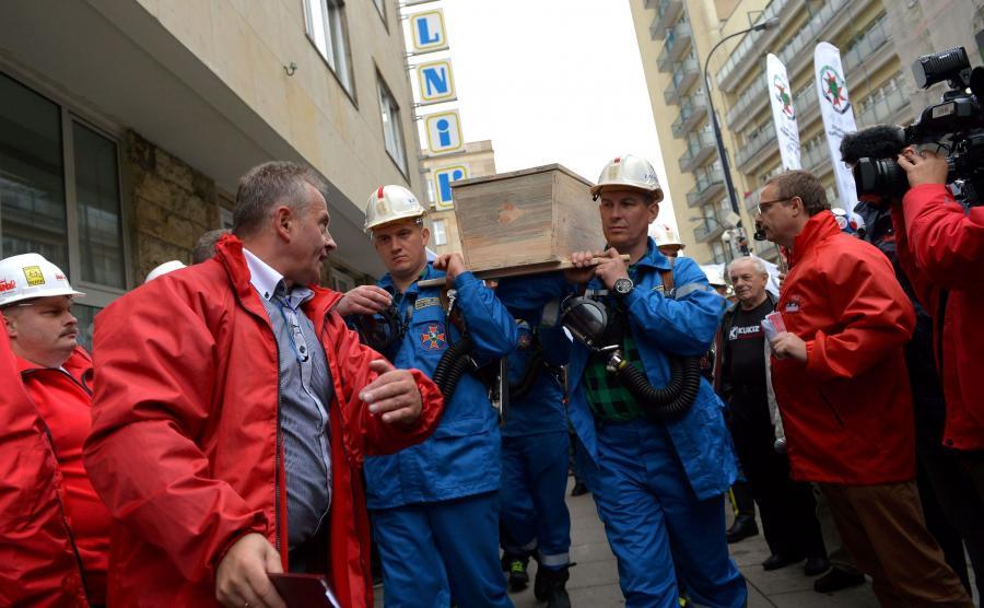 Protest górników w Warszawie
