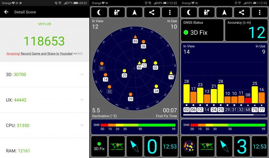 Huawei P10 Plus - AnTuTu Benchmark, GPS test