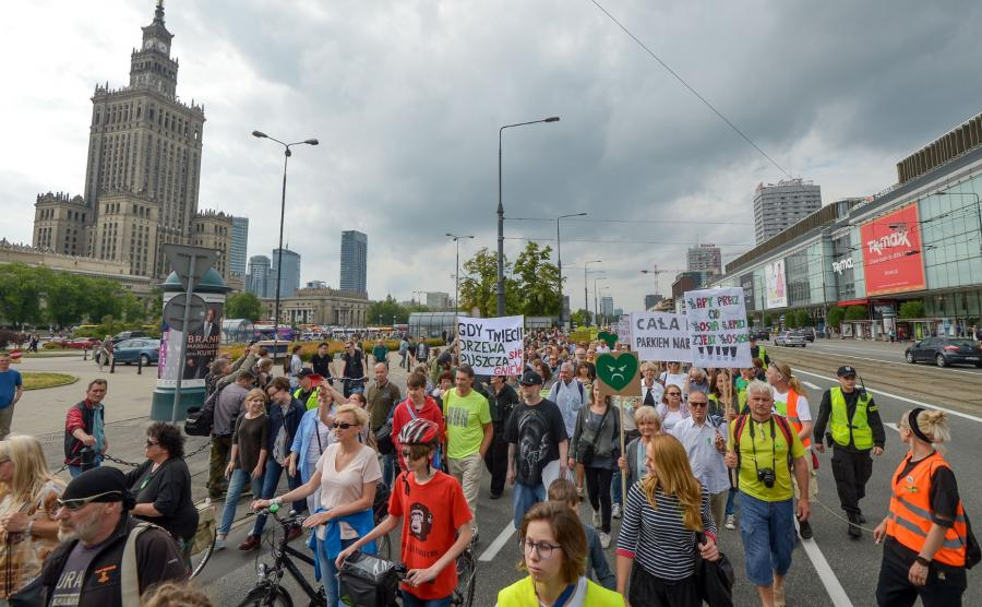 protestujący w obronie puszczy