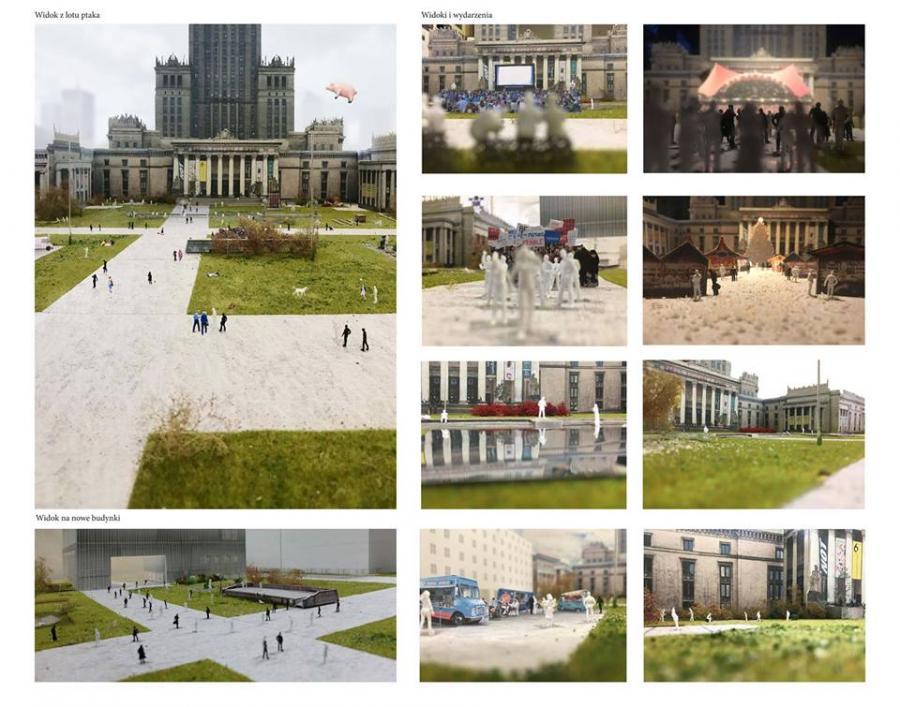 Projekt placu centralnego między Pałacem Kultury a ul. Marszałkowską