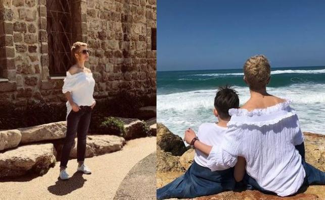 Joanna Racewicz z synem w Jerozolimie