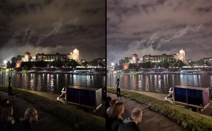 Po lewej zdjęcie zrobione Honorem 10, po prawej - Huaweiem P20 - tryb zdjęcie nocne