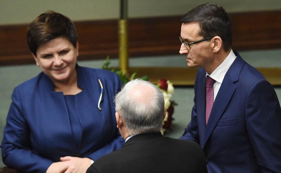 Beata Szydło, Jarosław Kaczyński i Mateusz Morawiecki
