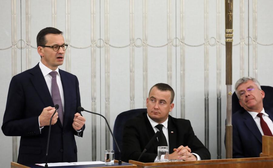 Premier Mateusz Morawiecki przemawia w Senacie o nowelizacji ustawy o IPN