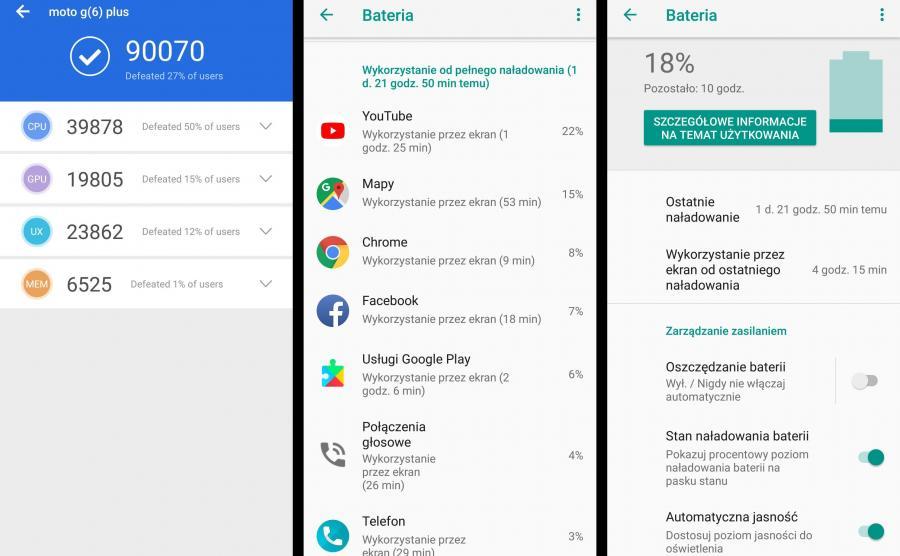 Motorola Moto G6 Plus - czas pracy na baterii, AnTuTu Benchmark