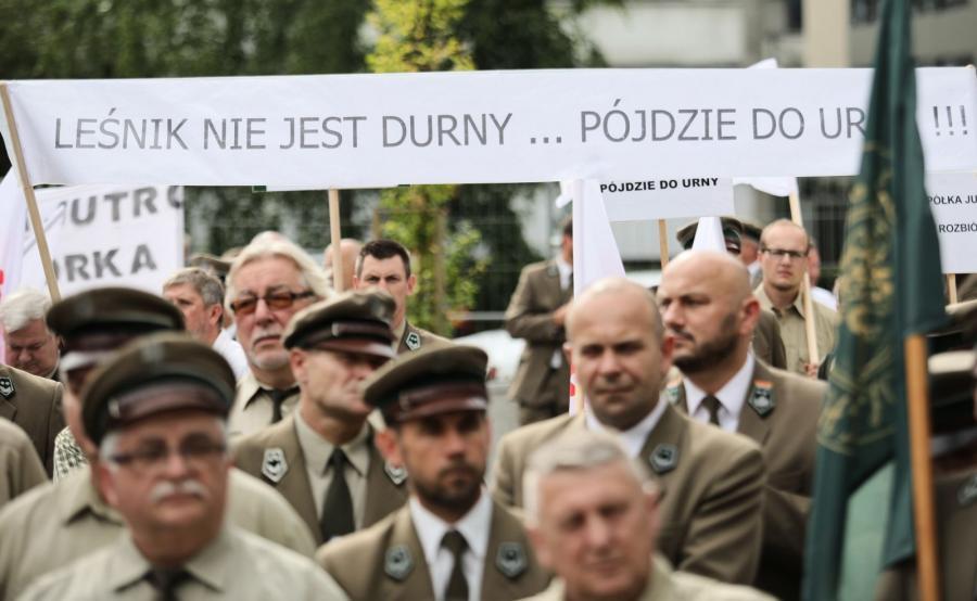 Protest leśników