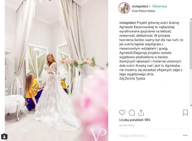 Agnieszka Kaczorowska w sukni ślubnej projektu Violi Piekut