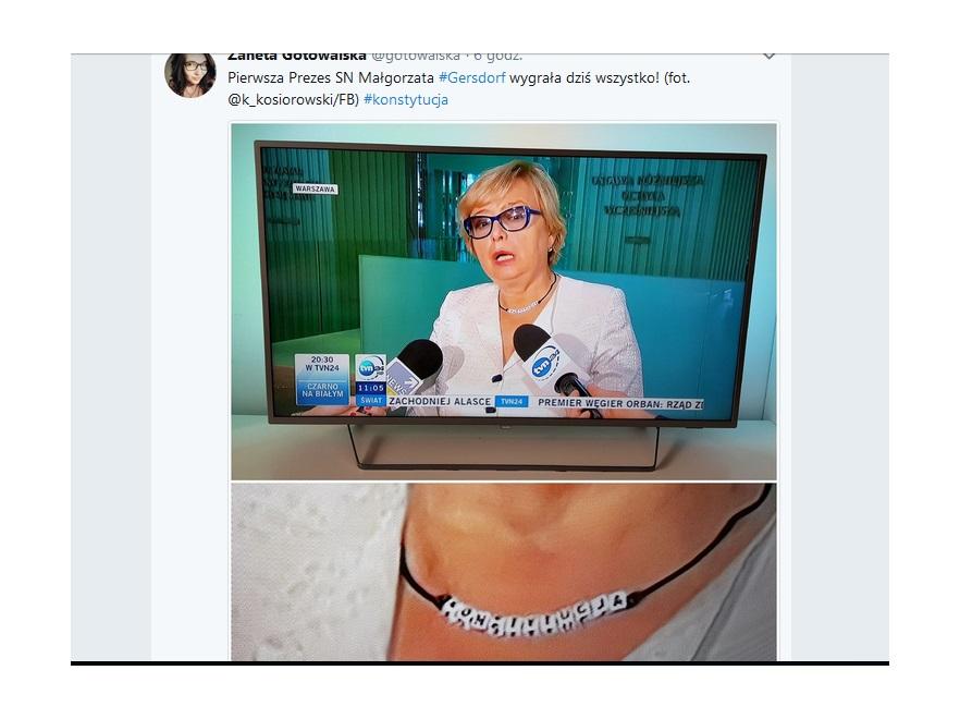 Małgorzata Gersdorf w naszyjniku KONSTYTUCJA