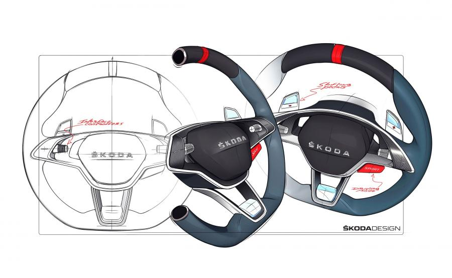 """Na środku kierownicy nie ma już logo marki tylko duży napis """"SKODA"""""""