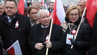 """Prezes PiS Jarosław Kaczyński na czele marszu """"Dla Ciebie Polsko"""""""