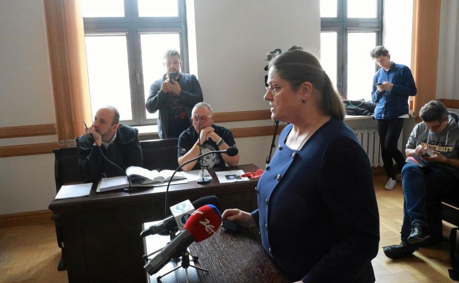Krystyna Pawłowicz i Jerzy Owsiak podczas rozprawy sądowej