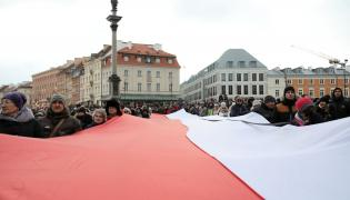 Warszawa, Pl. Zamkowy, pożegnanie Pawła Adamowicza