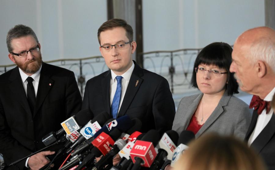 Grzegorz Braun, Robert Winnicki, Kaja Godek i Janusz Korwin - Mikke