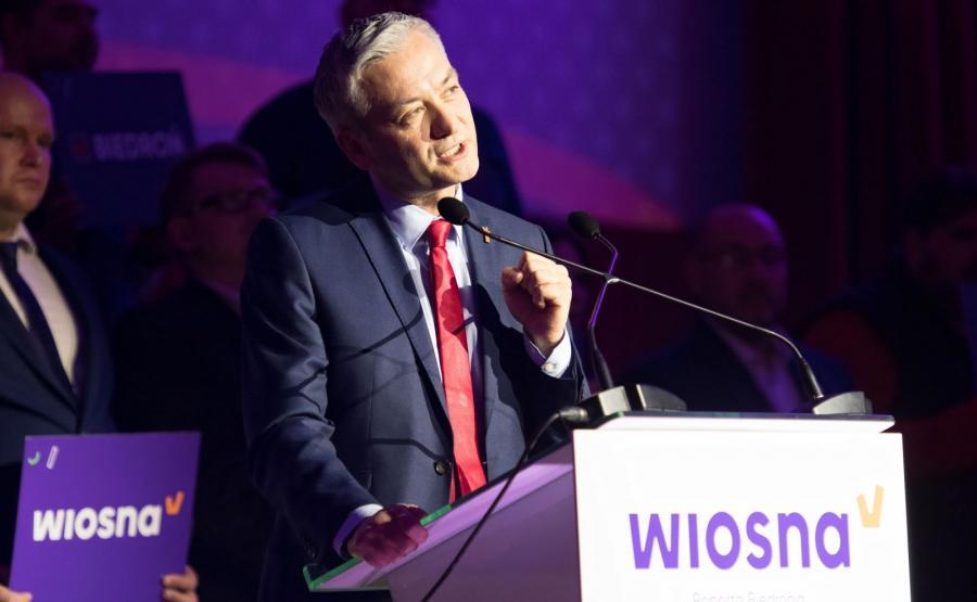 Robert Biedroń podczas konwencji w Białymstoku