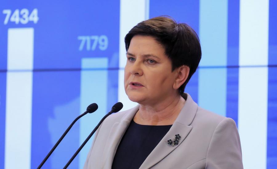 Wicepremier Beata Szydło podczas konferencji prasowej nt. strajku nauczycieli