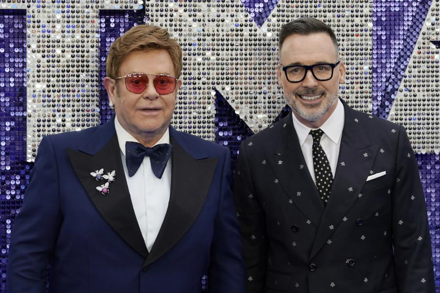 "David Furnish oraz Elton John  na premierze filmu ""Rocketman"""