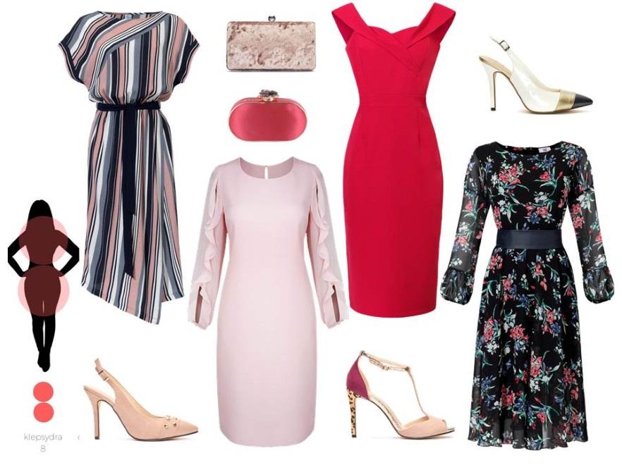 de055d24368688 Sukienki odpowiednie dla sylwetki KLEPSYDRA: sukienka w prążki – Cotton  Club/ cottonclub.pl, różowa sukienka – Modern Line/ modernline.pl, czerwona  sukienka ...