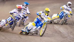 Jason Doyle (kask czerwony) i Igor Kopeć-Sobczyński (niebieski) z Get Well Toruń oraz Artiom Łaguta (żółty) i Kamil Wieczorek (biały) z MrGarden GKM Grudziądz