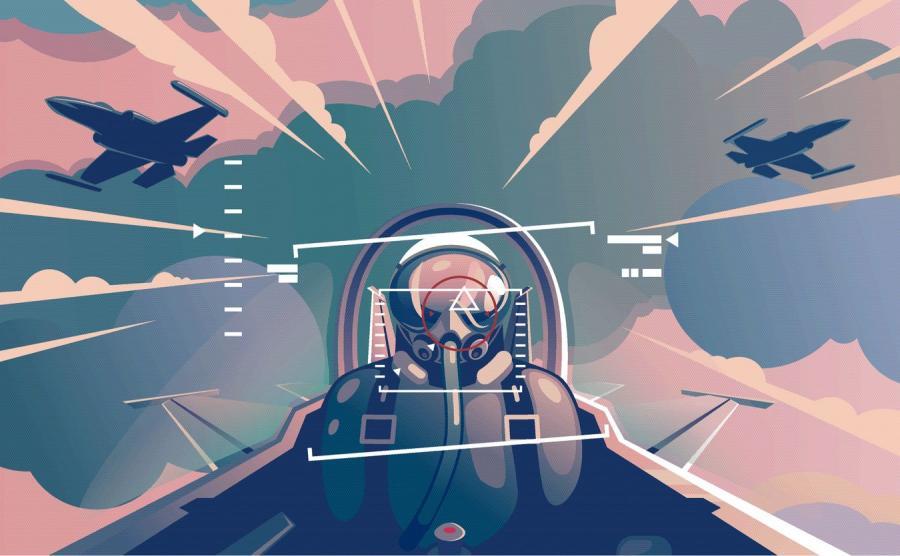 Pilot myśliwca, kokpit - grafika
