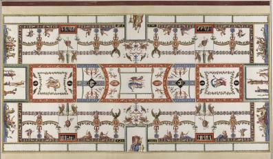 Franciszek Smuglewicz, Vincenzo Brenna, Marco Carloni, Dekoracja sklepienia w sali nr 15, akwarela i gwasz na zarysie akwafortowym, 1776