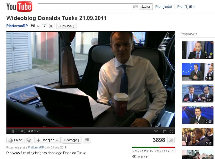 Wideoblog premiera Donalda Tuska