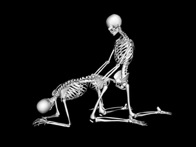 Pozycja seksualna Piesek. Kobieta klęka na kolanach z szeroko rozsuniętymi  nogami. Wspiera się na