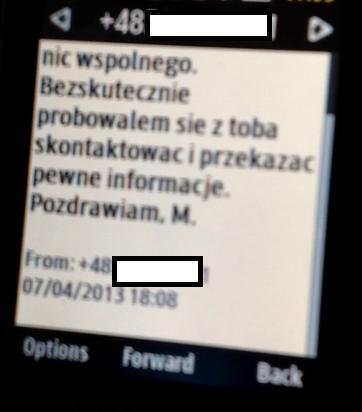 SMS, jaki Mieczysław Bull wysłał do Waldemara Skrzypczaka