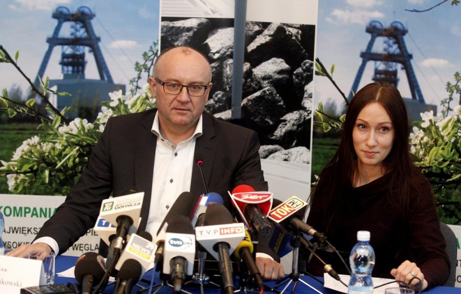 Prezes Kompanii Węglowej Krzysztof Sędzikowski i przewodnicząca RN Kompanii Węglowej Małgorzata Dec-Kruczkowska