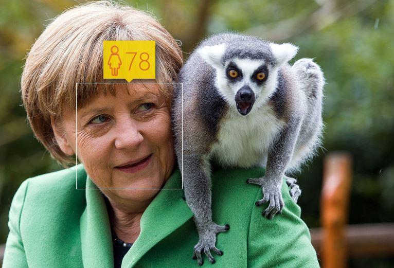 Angela Merkel i jej wiek według How-Old.net