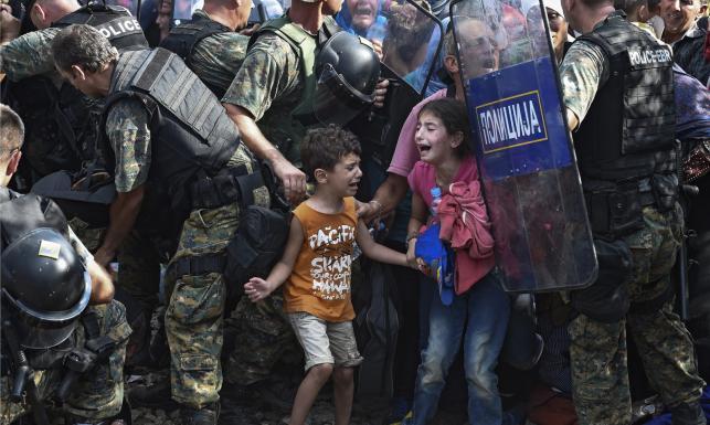 Koszmar na granicy z Macedonią. Policja kontra uchodźcy z dziećmi. ZDJĘCIA