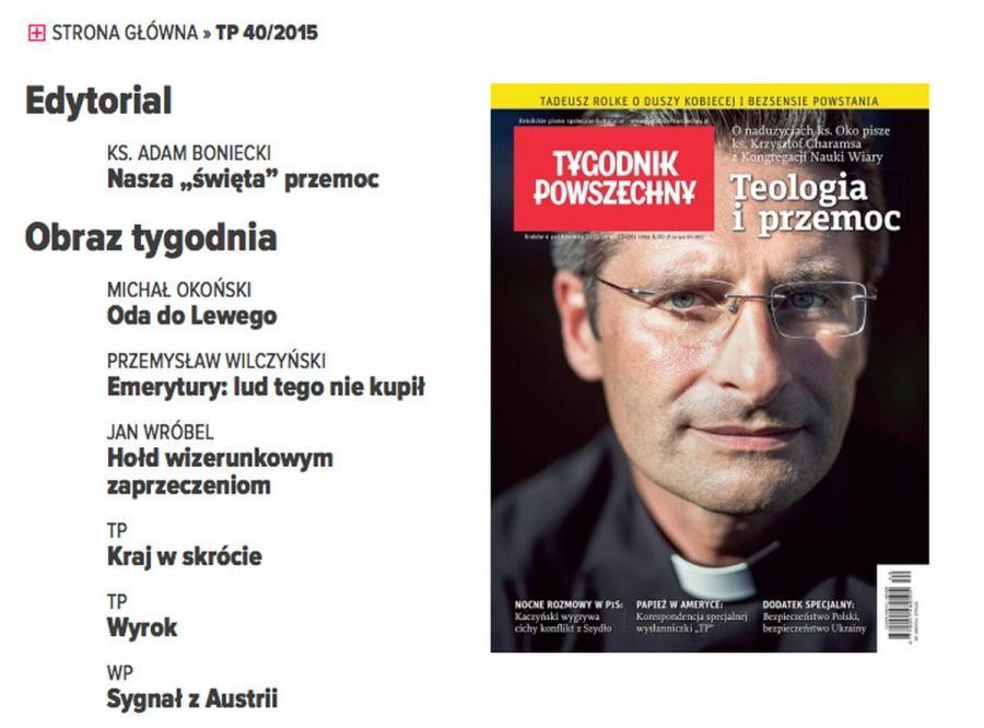 Ksiądz Krzysztof Charamsa na okładce \
