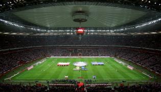 Stadion Narodowy w Warszawie przed towarzyskim meczem piłkarskim: Polska - Islandia