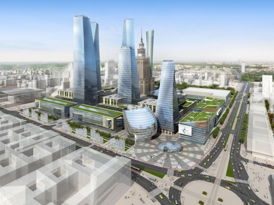 Plac Defilad z nowymi budynkami