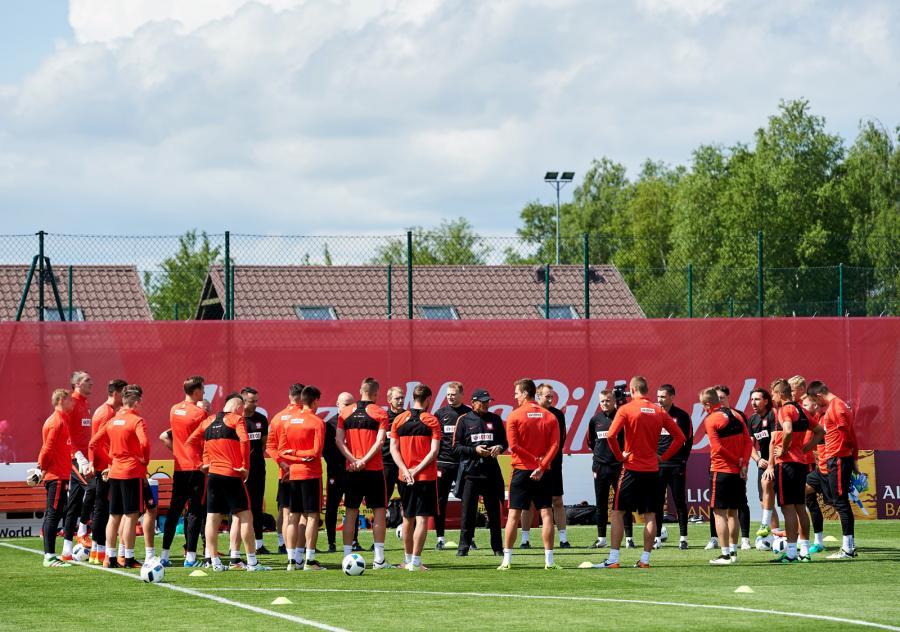 Piłkarska reprezentacja Polski podczas treningu
