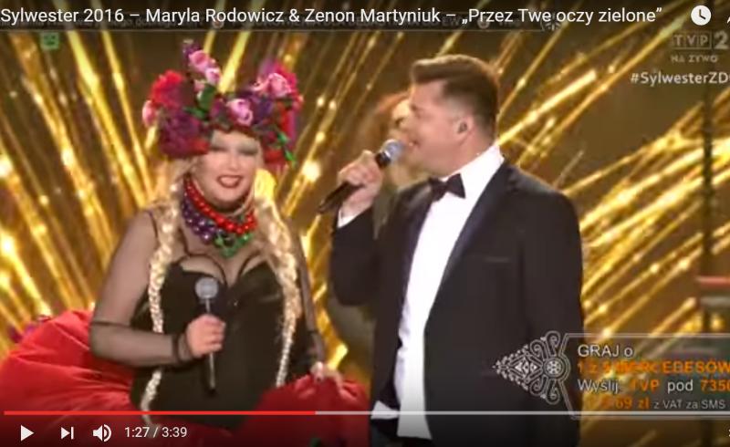 Maryla Rodowicz i Zenek Martyniuk podczas sylwestrowego koncertu w Zakopanem: 31 grudnia 2016 roku