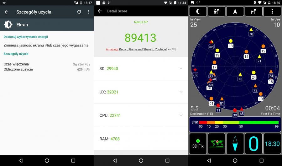 Czas działania baterii, wynik w AnTuTu Benchmark oraz test GPS