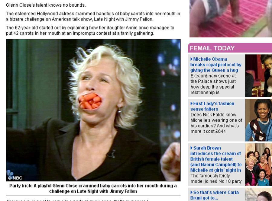 W ustach Glenn Close mieści się 12 marchewek